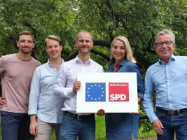 Das Sprecherteam des AK Europa: Philipp Abel (stv. Sprecher), Marcus Dietrich (stv. Sprecher), Matthias Dornhuber (Sprecher), Cornelia Spachtholz (stv. Sprecherin) und Thomas Hartmann (stv. Sprecher, v.l.)