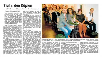 Anne Chebu - Bericht der Roth-Hilpoltsteiner-Volkszeitung